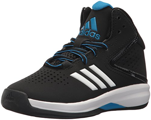 adidas Unisex-Kids Cross 'Em up 2016 K Wide Basketball Shoe, Core Black, Bright Blue, Ftwr White, 11K M US Little Kid