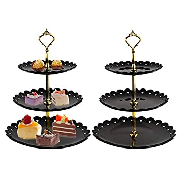 Jucoan 2 Pack 3-Tier Cake Stand Plastic Dessert Display Tower Round Pastry Serving Platter Cupcake Holder for Baby Shower Tea Party,Wedding Home Decor