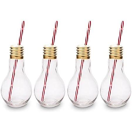 CKB Ltd® – Juego de 4 Edison Light Bulb lámpara Vasos de cóctel nouveauté con Pajita 400 ML – Ideal para los Bebidas gazeuses, Cervezas, cócteles & ...