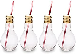 CKB LTD Pack of 4 Edison Light Bulb Novelty Drinking Glasses with Straw 400Ml - Ideal for Soft Drinks, Beers, Cocktails & Rum Based Long Drinks