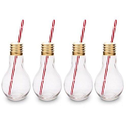 CKB Ltd®-Juego de 4Edison Light Bulb lámpara Vasos de cóctel nouveauté con Pajita 400ML-Ideal para los Bebidas gazeuses, Cervezas, cócteles & Ron