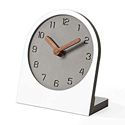 Mooqs Wood Silent Non-Ticking Battery Operated Decorative Desk Table Clock for Home, Office, Living Room, Bed Room (White)