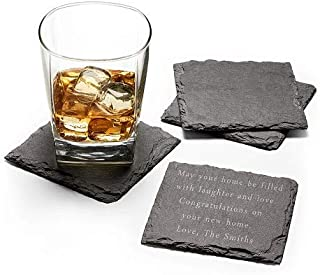 GiftTree Personalized Drink Coasters With Custom Message | Beautiful Set of 4 Slate Beverage Coasters | Free Customization and Engraving| Christmas, Wedding, Father's Day, House Warming, Birthday Gift