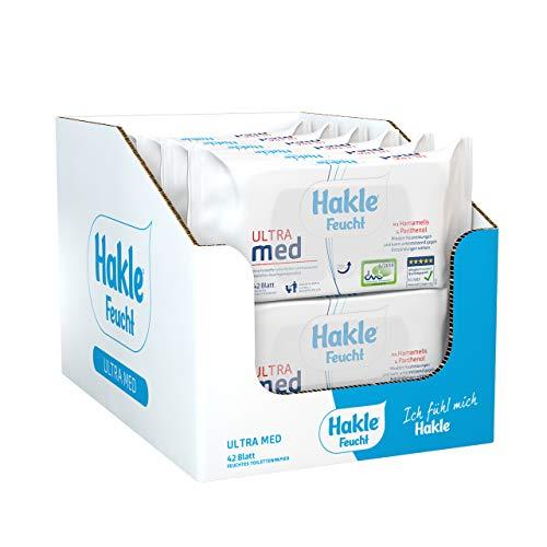 Hakle Feucht ULTRA med im 12er-Pack, 504 Tücher (12 x 42 Blatt), pflegendes feuchtes Toilettenpapier, hautverträgliche feuchte Tücher, schnell wasserlösliche Feuchttücher