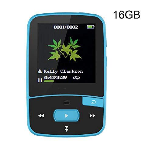 Yanganjin Mini Clip MP3-speler, 16 GB Sport Bluetooth MP3 muziekspeler met clip Radio spraakopname siliconenhoes hoofdtelefoon armband geheugen uitbreidbaar tot 64 GB
