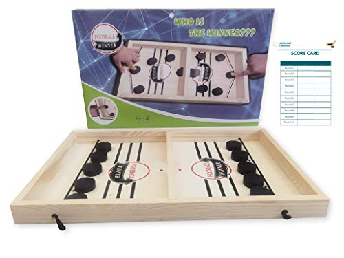 Moonlight Fast Sling Puck Game,Wooden Sling Hockey Game, Portable Table Desktop Battle, Board Game Toys Interactive for Adults and Children- Includes Unlimited Score Cards