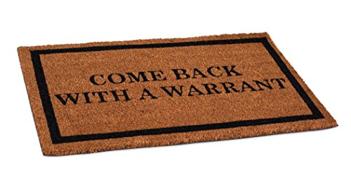 BirdRock Home Come Back with a Warrant Coir Doormat - 18 x 30 Inch - Funny Mat - Standard Welcome Mat with Black Border and Natural Fade - Vinyl Backed - Outdoor Front Door Entrance Mats