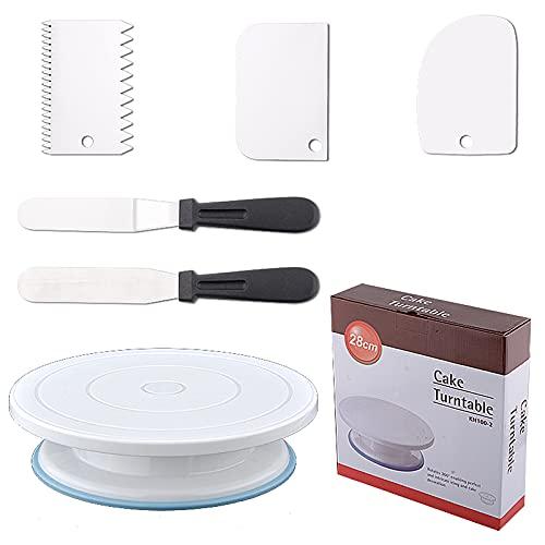 VIVILINEN Soporte para tartas Bandeja giratoria para tartas para decoración de tartas Kit de pastelería para decoración de tartas(6 Piezas)