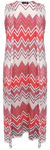 Islander Fashions vrouwen Plus Size Mouwloos Zig Zag Patroon Gehaakte Kant Maxi Vest Trui Trui (US 8 naar US 22)