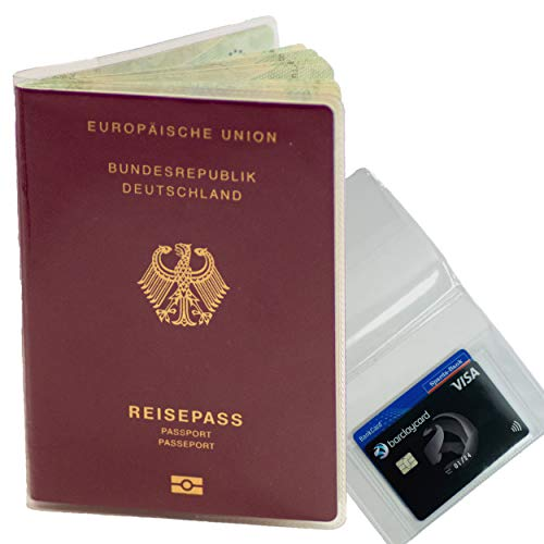 2er Set Reisepasshülle transparent Alter Reisepass (bis Februar 2017) & Neue Impfpasshülle (ab 2015) inkl. extra Kartenfach für Kreditkarte Führerschein Versicherungskarte Passport Holder