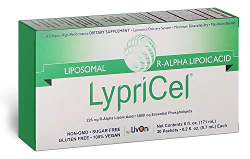 LypriCel Liposomal R-Alpha Lipoic Acid – 30 Packets – 226 mg R-ALA Per Packet – Liposome Encapsulated for Maximum Bioavailability – 100% Non-GMO