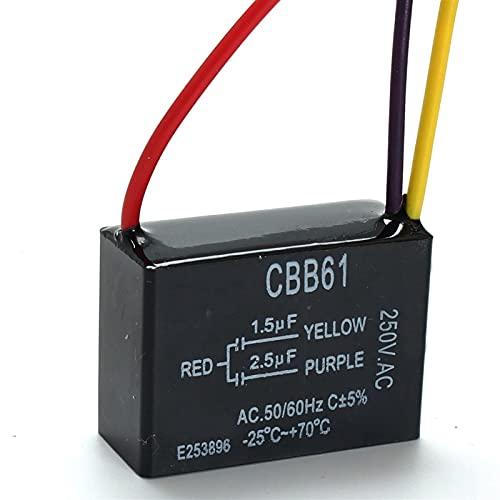 JSJJAET Condensador CBB61 250V 1.5UF-2.5UF Terminal DE TECLO DE Techo Motor DE Caja DE RECTUDE DE Recorte para FANES DE Techo