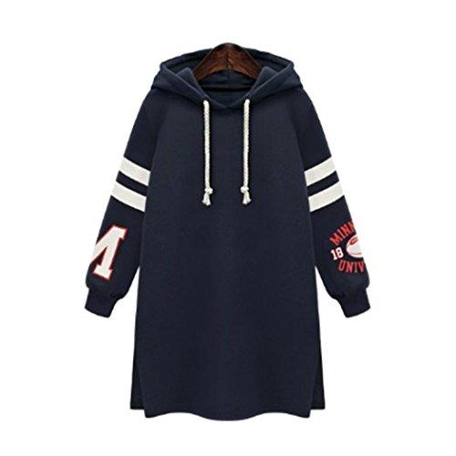 Grande Taille Femme Sweat Robe à Capuche,Overdose Soldes Hiver Femmes Sweatshirt Oversize Hoodie Pullover Casual Tops (48, Bleu Marine)
