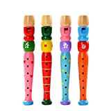 Milopon, flauto in legno per bambini, con fischietto, 1 pezzo, colore casuale...