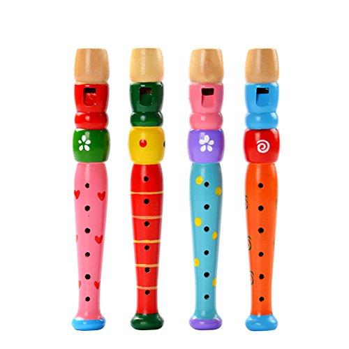 Leisial, 1 flauto giocattolo musicale educativo per bambini, flauto, strumento musicale per bambini, regalo di compleanno, Legno, Colorato, 20*2.5cm