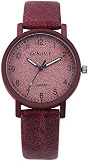 Elegant Watches for Women Fashion Luxury Lady Watch G508L Girls Casual Solid Color Stone Texture Shallow Matte Retro Quartz Watch Female Belt Watch (Color : Red)
