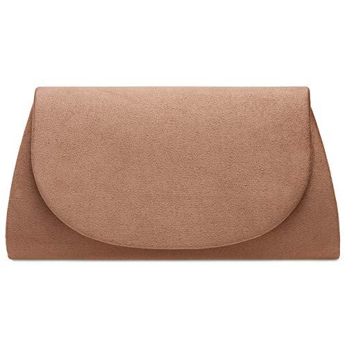 Caspar TA525 Damen elegante Textil Velours Clutch Tasche Abendtasche, Farbe:altrosa, Größe:Einheitsgröße