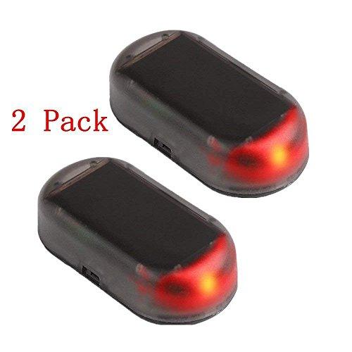 Simulador de alarma antirrobos YYGIFT®, ideal como sistema de seguridad del coche, la luz LED intermitente funciona con energía solar (2unidades)