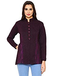 Matelco Womens Buttoned A-line Cardigan with Net Designing