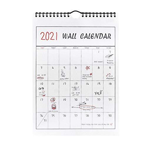2020-2021 Jahr Monatliche handbemalte Wandkalender Planer Tagesplaner Organisator Wandplanplan Hinweis Kann den Kalender zerreißen Home-Office-Arbeitsplanung Organisieren der Zweidrahtbindung