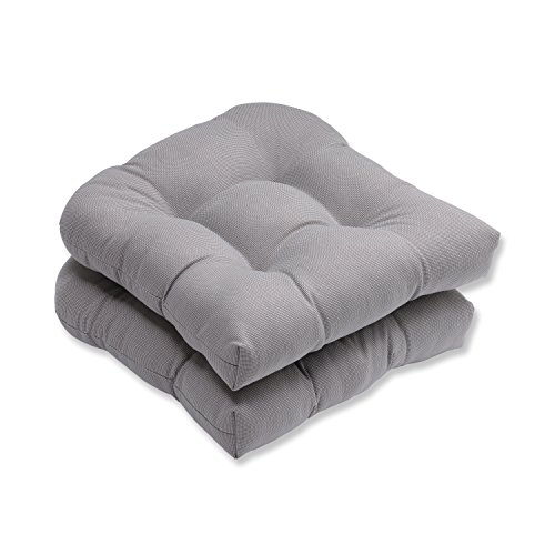 Pillow Perfect Outdoor/Indoor Tweed Tufted Seat Cushions Round Back 19quot x 19quot Gray 2 Pack