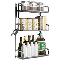 YGCBL 棚・キッチンラックステンレスパンチレス調味料ラック壁掛けオイルソルトビネガー収納ラック(シルバー)