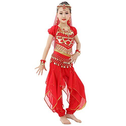 Magogo Mädchen Bauchtanz Kostüm Glänzende Party Karneval Outfit, Kinder Arabische Prinzessin Kleidung Cosplay Dancewear (L, Rot)