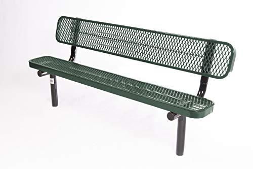 Coated Outdoor Furniture B6WBI-GRN Park Bench Back, 6 Feet, Green