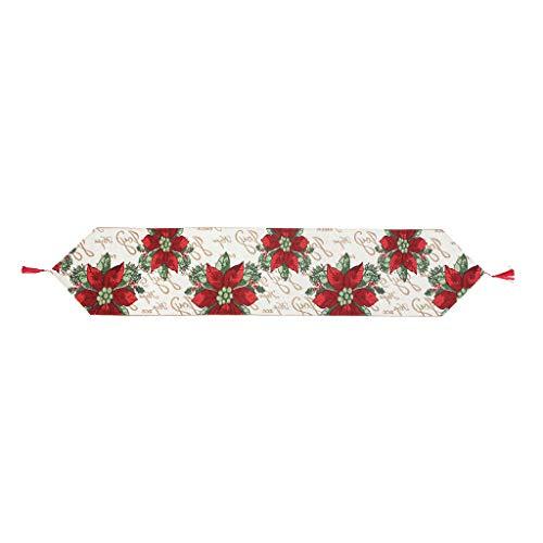 JOYKK Tafelkleed Kerstmis Decoratieve Tafel Runner Jacquard Weave Rood Poinsettia Groen Bladeren Beige