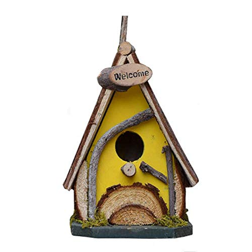 Bird Nest Retro Arts and Crafts Country Cottages Bird House, Woodland Cabin Birdhouse Outdoor Decor And Interior Wooden Yellow Wild Wild Bird Classic Nest Box (Couleur: Jaune, Taille: 15x11.5x20CM)