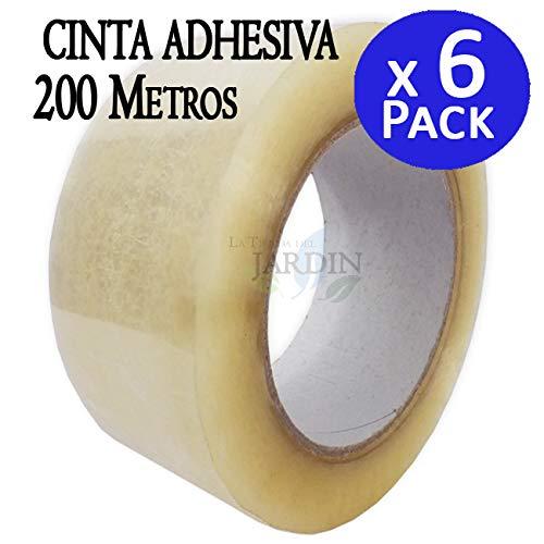 Pack 6 x CINTA ADHESIVA TRANSPARENTE embalaje 200 mts ancho 4,8 cm (200 x 48, transparente): Amazon.es: Oficina y papelería