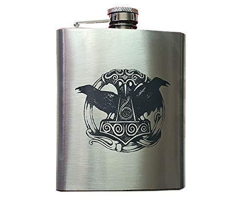 Lokis Truhe Flachmann Schlucki edel gravierter Edelstahl gebürstet mit Thors Hammer und Odins Raben Hugin und Munin 200 ml 7 oz