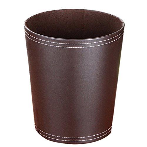 LVPY Abfalleimer – Leder Papierkorb für Büro, Badezimmer, Wohnzimmer und Mehr, Ø 24.5cm,Kaffee,7L