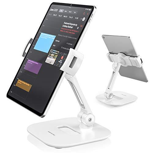 AboveTEK Stilvolle Aluminium Tablet Stander Handy Stand Faltbare 360 Swivel Tischhalterung passt 4 11 TabletsSmartphones fur Kuche Nachttisch Buro Tisch POS Kiosk Rezeption Showroom