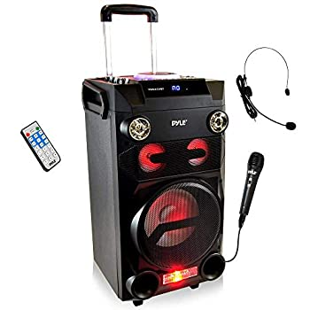 Pyle Outdoor Portable Wireless Bluetooth Karaoke PA Loud Speaker - 8   Subwoofer Sound System with DJ Lights Rechargeable Battery FM Radio USB/Micro SD Reader Microphone Remote Black