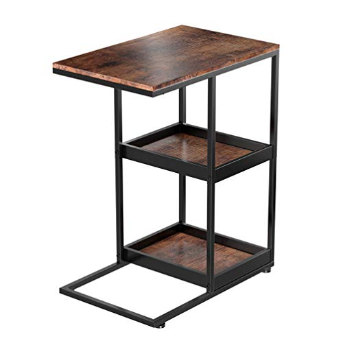 Industrial C Shaped Side Table with Storage Shelves, Printer Stand with Paper Storage Shelves, Snack Table for Coffee Laptop Tablet with 2 Trays,C Shaped Sofa Side Table for Couch Living Room Bedroom