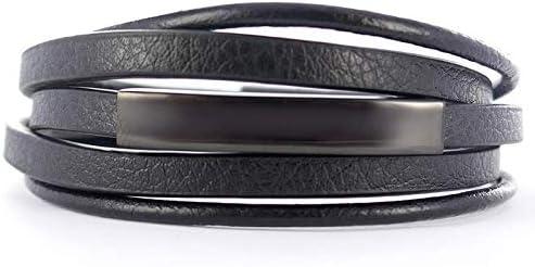Bracelet Homme en Cuir Noir avec Plaque gravée Bijoux Gourmette