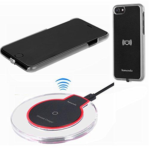 hanende Kit de Cargador Inalámbrico para iPhone 7, Qi Carga inalámbrica Pad y Receptor inalámbrico para iPhone 7 (Negro Transparente)