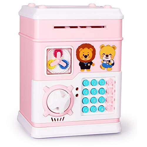 Yuejiancaos Hucha Para Niños Hucha Electrónica Multifunción ATM Máquina Tragamonedas Automática Juguetes Para Ahorrar Dinero (12 Botones)(Pink)