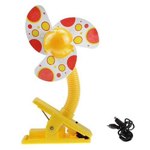 YJZQ - Mini ventilatore a clip, portatile, con pinza, rotazione a 360°, per passeggino, mini ventilatore USB, per letto e ventilatore di sicurezza per bambini