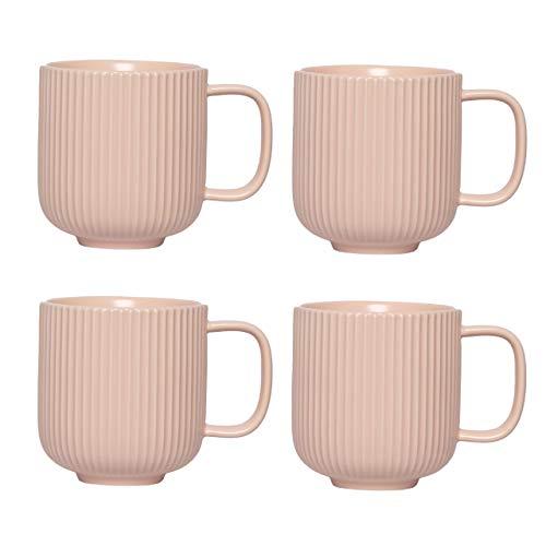 KØZY LIVING Keramik Tasse 4 Stk - 350 ml Tassen-Set in skandinavischem, nordic Design - perfekt für Kaffee oder Tee - Pastellrosa
