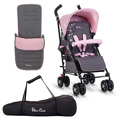 Silver Cross Pop Star Dancing Daisies Bundle - Lightweight Compact Baby to Toddler Pushchair, Footmuff and Stroller Bag