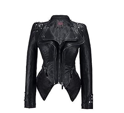 Womens Faux Leather Zip Up Moto Biker JK44169-BLACK-M