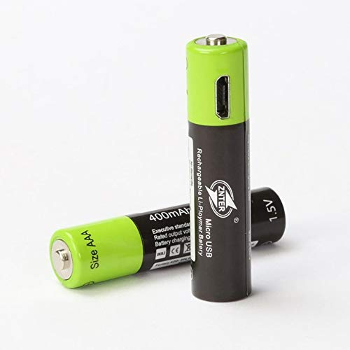 ZNTER Ultra-Efficient AAA 1.5V 400mA USB Rechargeable Lithium Polymer Battery(black/green)
