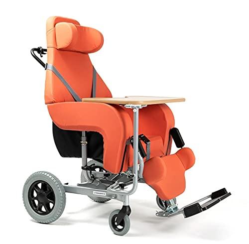 FabaCare Pflegerollstuhl Coraille mit Tisch und Liegefunktion für Außenbereich, Multifunktionsrollstuhl neigbar, Orange, Sitzbreite 48 cm