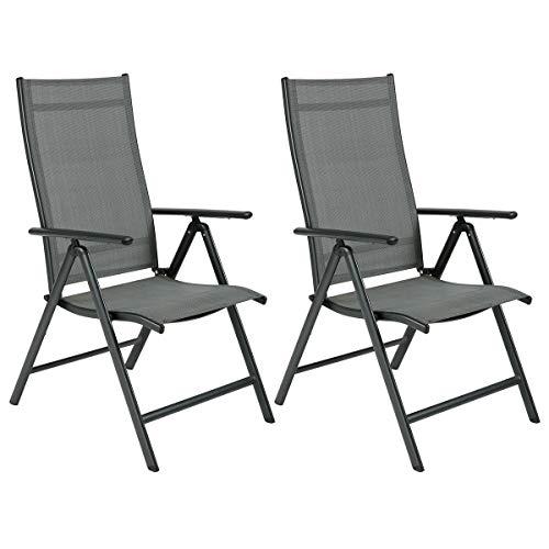 OUMAN sillón Silla de jardín plegable silla de jardín silla plegable con balcón silla de terraza de aluminio para terraza balcón Camping Festival Gris, 2 piezas