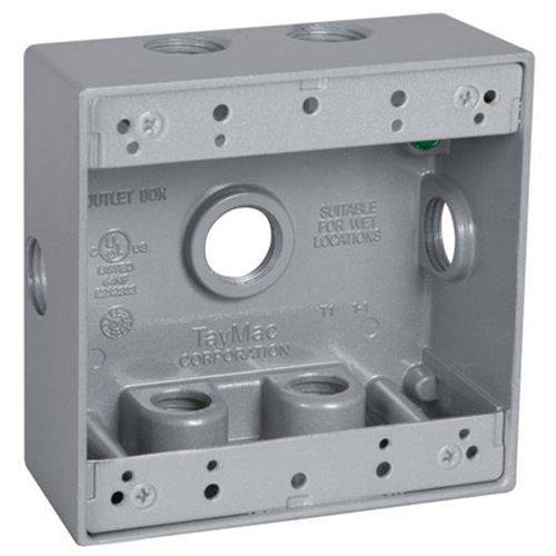 TayMac DB750XS 4-1/2-Inch X 4-1/2-Inch Gang 2-Inch Deep Weatherproof Box, 1/2-Inch Outlets, Side Lug, Gray