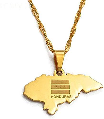 banbeitaotao Collar Mujer Collar Hombre Collar Tamaño pequeño Mapa de Honduras Collares Pendientes para Mujer Color Dorado Encanto Mapas Joyería Niñas Niños Collar