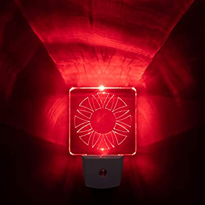 Red LED Night Light - BioRhythm Safe(TM) for Bedrooms, Bathrooms, and Nurseries [2-Pack]