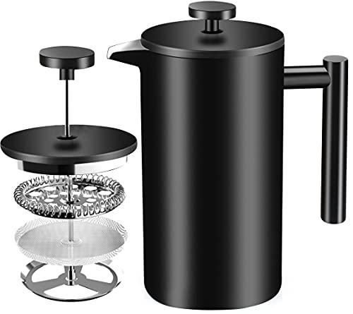 [1 Liter / 1000 ml} 8 cups Kaffeebereiter - Doppelwandige Edelstahl - Kaffeemaschine - Französische Kaffeepresse - Kaffeekanne - Französisches Pressensystem mit Edelstahlfilter - KICHLY (Schwarz)